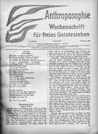 Anthroposophie : Wochenschrift für freies Geistesleben. Jg 9.1927, No. 1-52. kpl.