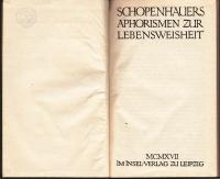 Aphorismen zur Lebensweisheit. - 6.-10. Tsd. - (Insel-Ausgabe)