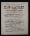 De Potentia Ventorum in corpus humanum : ubi simul agitur de ascensu & descensu argenti vivi in barometro ... Friderico Wilhelmo... Praeside Friderico Hoffmanno....